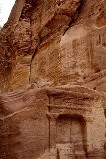 Carvings siq wall petra jordan