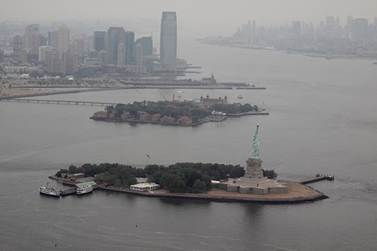 Aerial view ellis island new york city new york usa